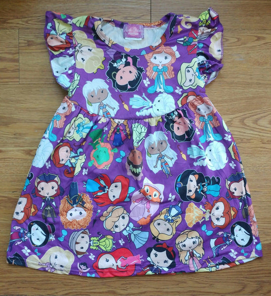 Purple Princess Characters Milk Silk Pearl Dress