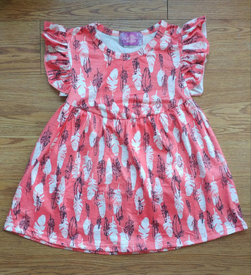 Coral Feather Milk Silk Pearl Dress