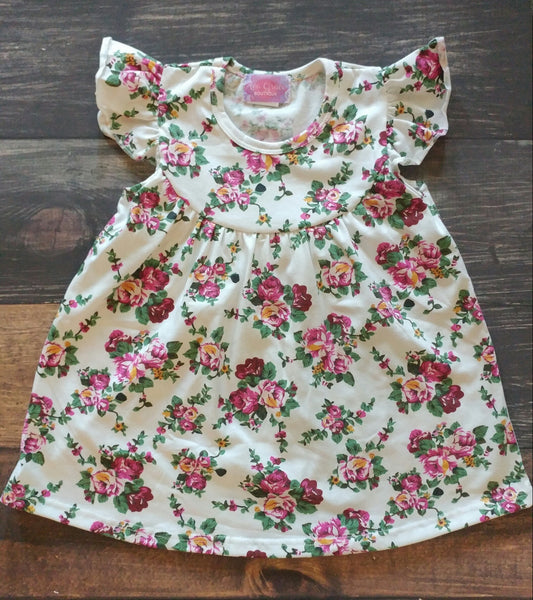 Cream Floral Pearl Dress