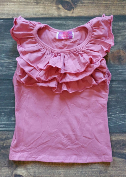 Mauve Pink Front Ruffle Tank Top