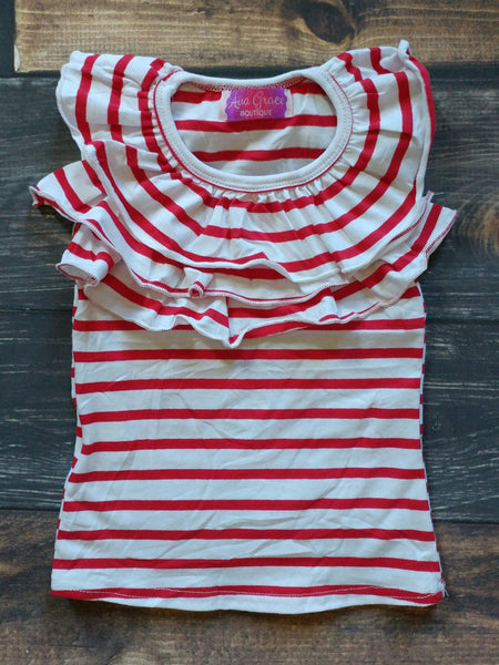 Red and White Stripes Front Ruffle Tank Top