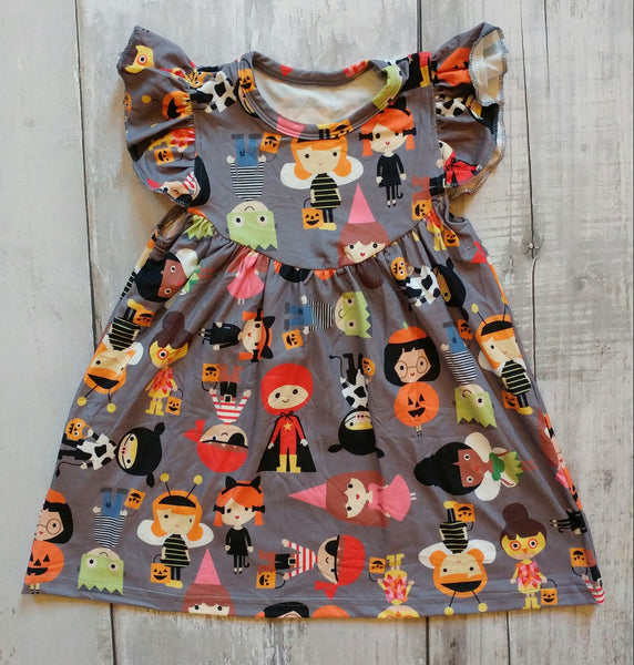 Halloween Pearl Milk Silk Dress