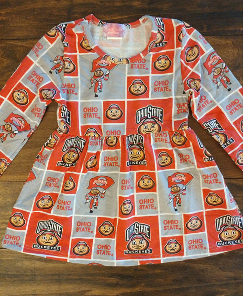 Buckeye Block Long Sleeve Dress
