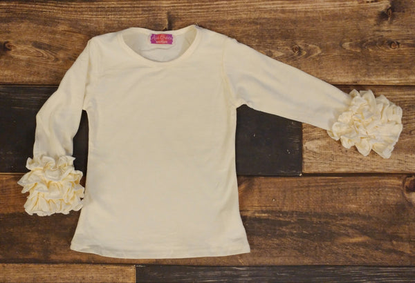 Ivory Ruffle Long Sleeve Shirt
