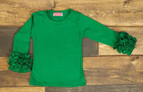 Green Ruffle Long Sleeve Shirt