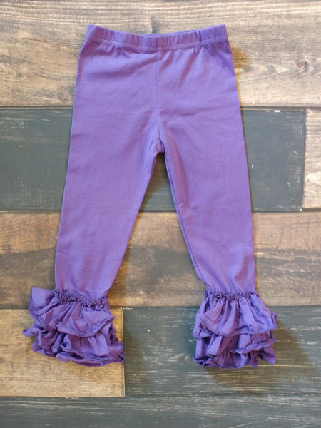 Purple Truffle Triple Ruffle Leggings
