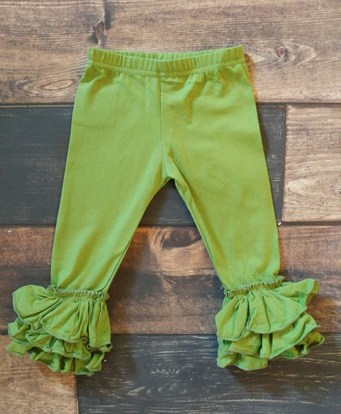 Olive Truffle Triple Ruffle Leggings