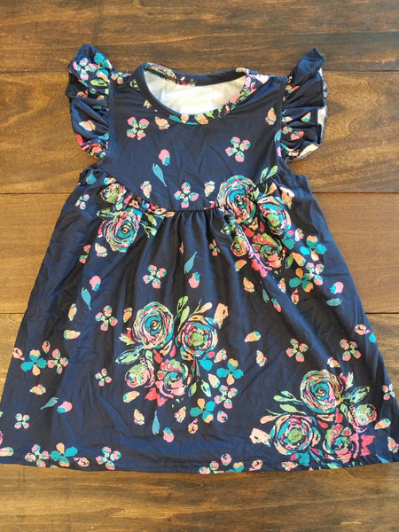 Navy Blue Roses Pearl Milk Silk Dress