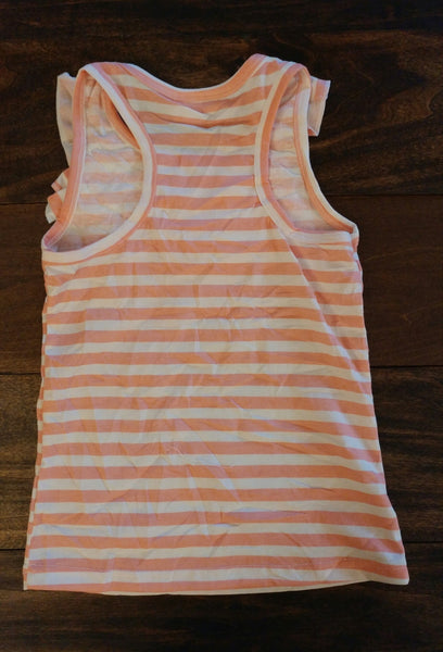 Peach and White Stripes Front Ruffle Tank Top