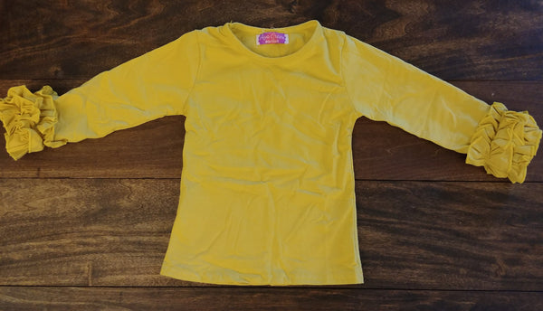 Mustard Yellow Ruffle Long Sleeve Shirt