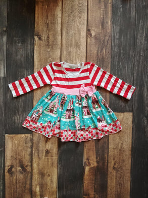 Red White Stripes Gingerbread House Long Sleeve Milk Silk Dress