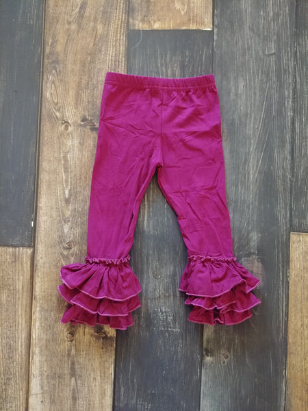 Plum Truffle Triple Ruffle Leggings