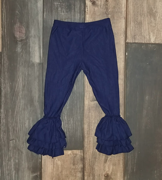 Knit Denim Triple Ruffle Legging
