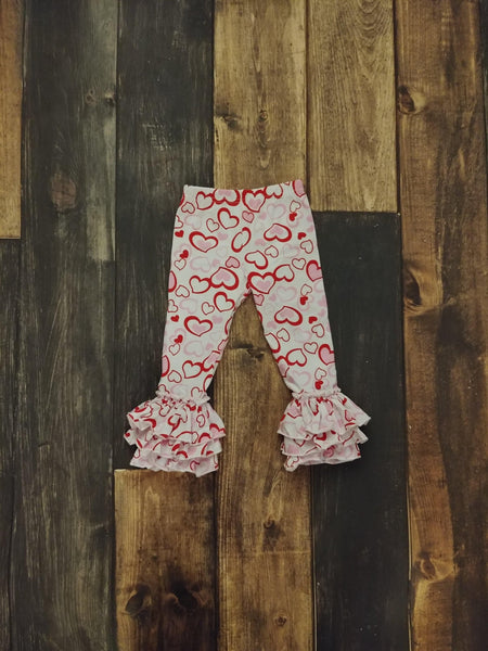 Red Hearts Knit Truffle Triple Ruffle Leggings