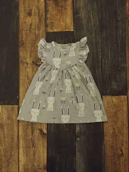 White Easter Bunny Milk Silk Pearl Dress in Grey Background