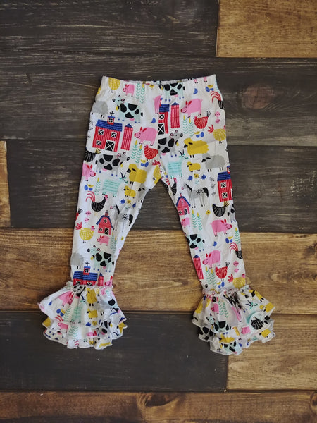 Farm Animals Triple Ruffle Legging