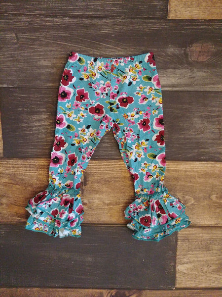 Teal Floral Knit Triple Ruffle Legging