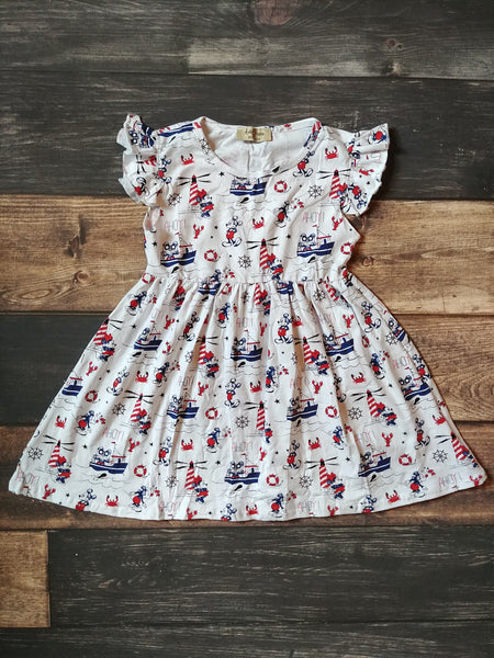 Mickey Mouse Boats and Boathouse Knit Pearl Dress