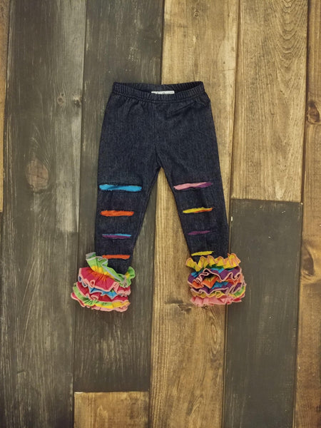 Rainbow Distressed Knit Denim Icing Leggings