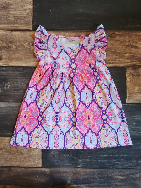Pink Paisley Milk Silk Pearl Dress