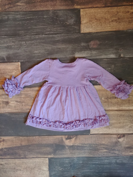 Long Sleeve Ruffle Dress - Lavender