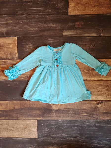 Long Sleeve Ruffle Dress - Light Blue