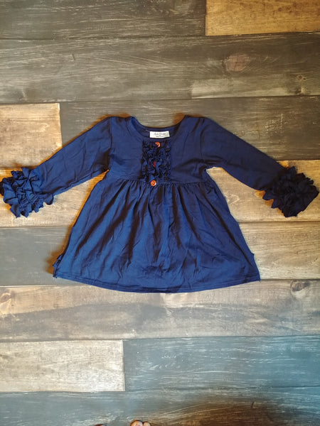 Long Sleeve Ruffle Dress - Navy Blue