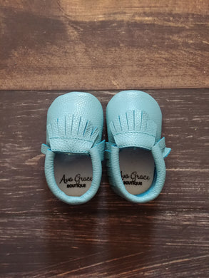 Mint Blue Green Genuine Leather Moccasin