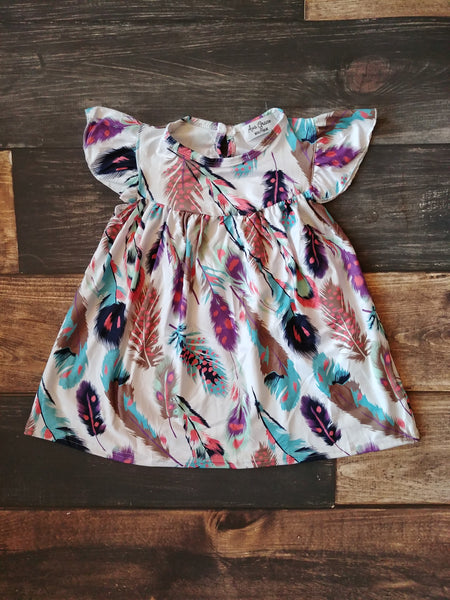 Feather Print Milk Silk Tunic Dress