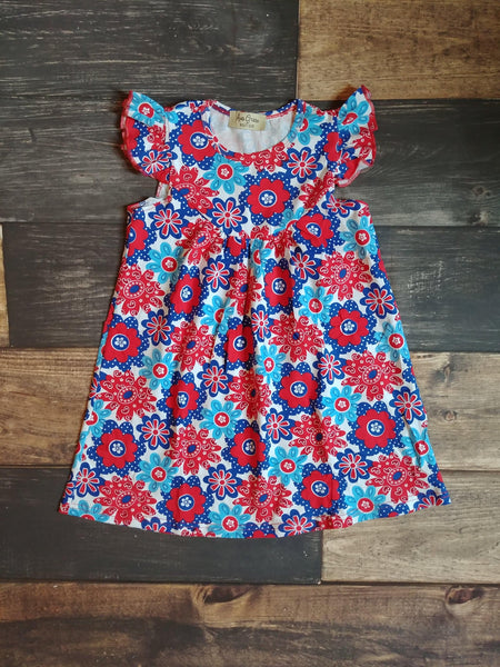 Red Blue Floral Knit Dress