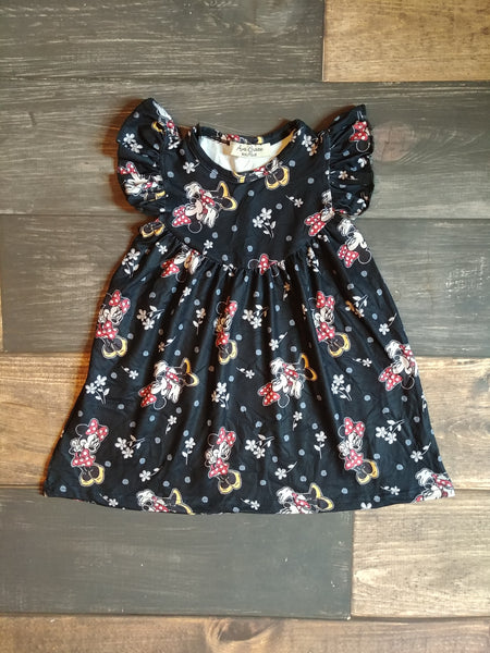 Black Minnie Mouse Pearl Milk Silk Dress