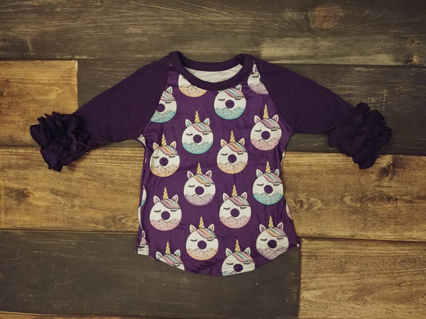 Dark Purple Unicorn with Light Purple Ruffle Icing Raglan