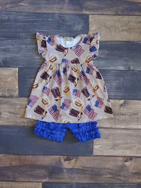 Flags and Cowboy Boots Milk Silk Dress and Ruffle Short Set