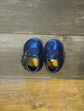 Navy Blue Genuine Leather Moccasin