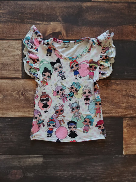 Dolls Prints Flutter Tank Top