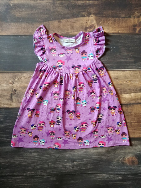 Dolls Print Milk Silk Pearl Dress Purple