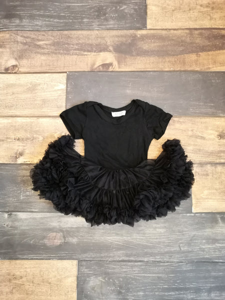 Black Short Sleeve Leotard with Tutu Skirt