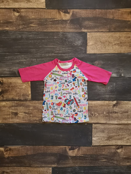 Back to School Subjects 3/4 Raglan Tee