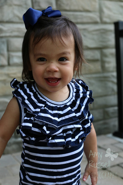 Navy Blue and White Stripes Front Ruffle Tank Top