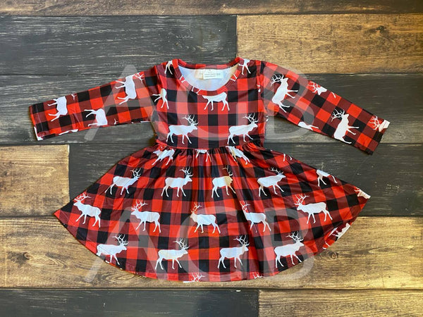 Buffalo Plaid Moose Milk Silk Dress Twirly Style
