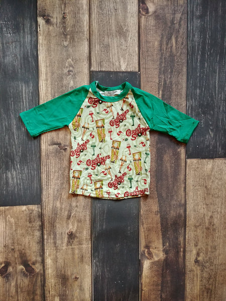 Christmas Story Raglan 3/4 Tee with Green Sleeve