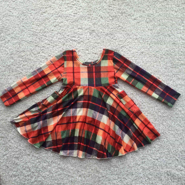 Holiday Christmas Plaid Long Sleeve Twirly Dress