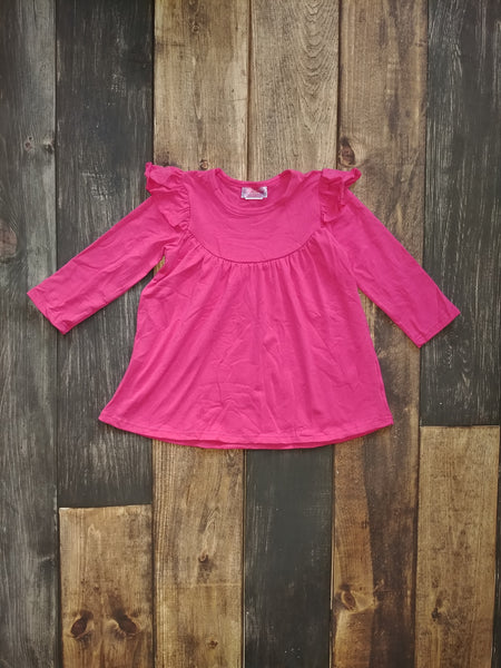 Hot Pink Flutter Long Sleeve Pearl Knit Dress