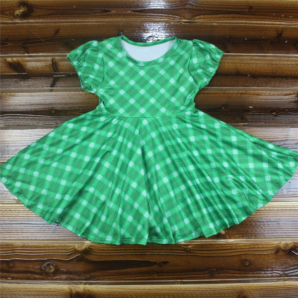 Green Plaid Knit Dress