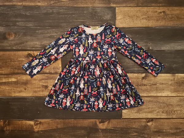 Navy Nutcracker Long Sleeve Dress