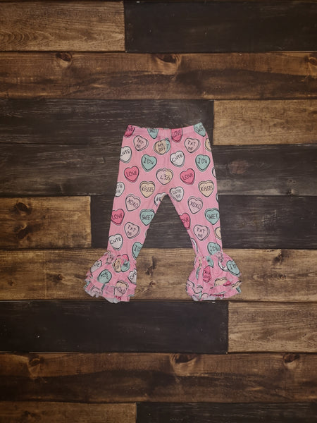 Candy Hearts Milk Silk Triple Ruffle Leggings