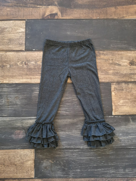 Dark Heather Grey Triple Ruffle Leggings
