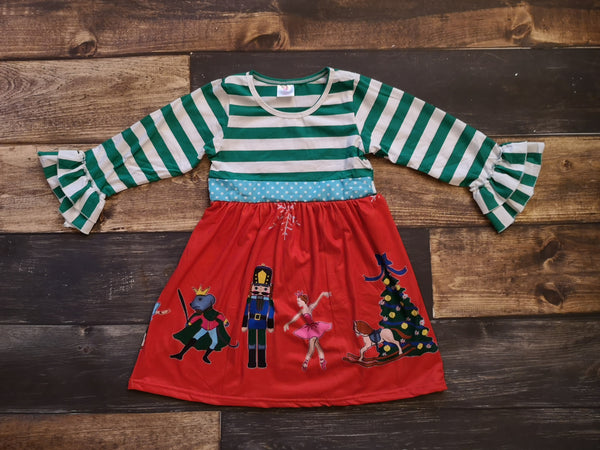 Nutcracker Red/Green Long Sleeve Dress