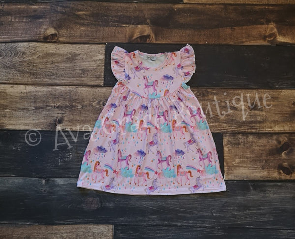 Pink Unicorn Pearl Milk Silk Dress