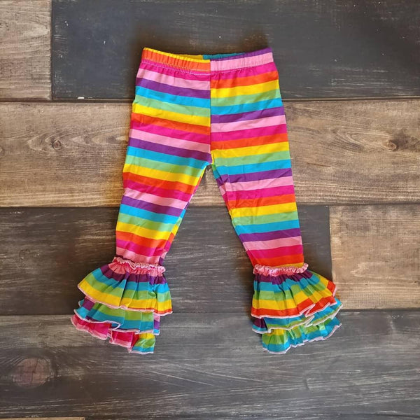 Rainbow Triple Ruffle Leggings
